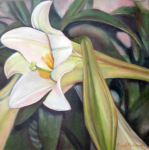 Floral Painting Art Print featuring the painting Lys by Muriel Dolemieux