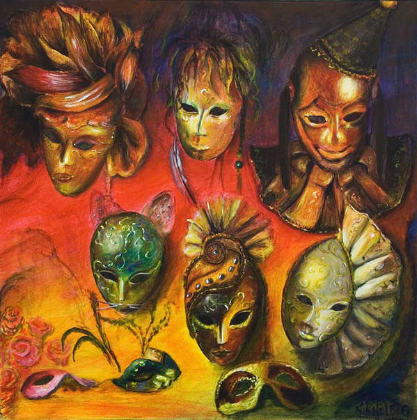 Masks Art Print featuring the painting Making Faces IIi by Nik Helbig
