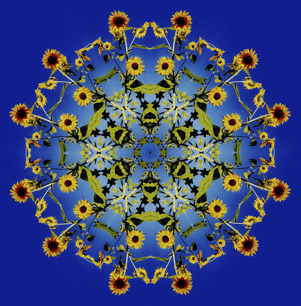 Mandala Art Print featuring the digital art Mandala Sunflower by Nancy Griswold