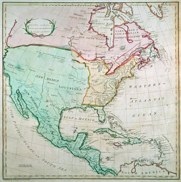 Map Art Print featuring the painting Map Of North America by English School