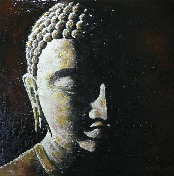 Buddha Art Print featuring the painting Meditation 1 by Eddie Lim