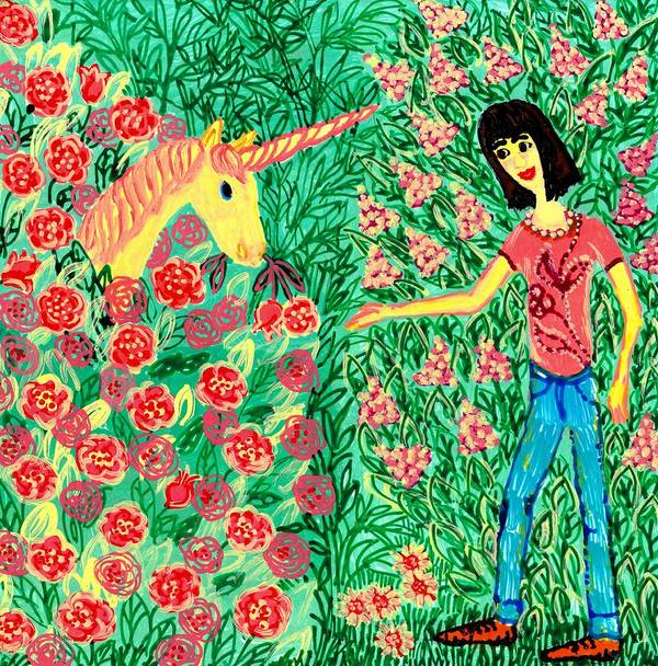 Sue Burgess Art Print featuring the painting Meeting In The Rose Garden by Sushila Burgess