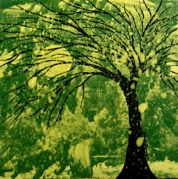 Tree Art Print featuring the painting Metallic Moon by Linda Powell