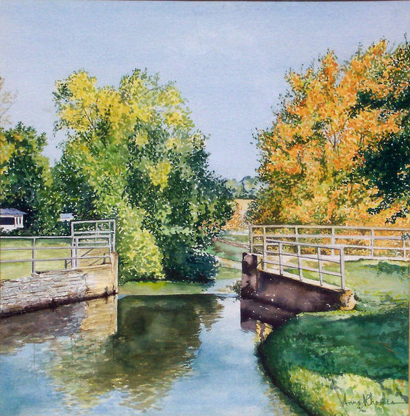 Landscape Art Print featuring the painting Metamora Canal by Anne Rhodes