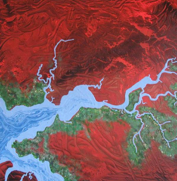 Map Art Print featuring the painting Mission River by Joan Stratton