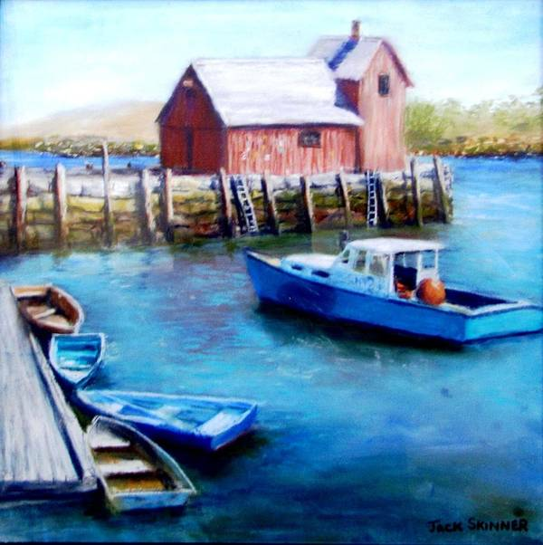 Motif One Art Print featuring the painting Motif One Rockport Harbor by Jack Skinner
