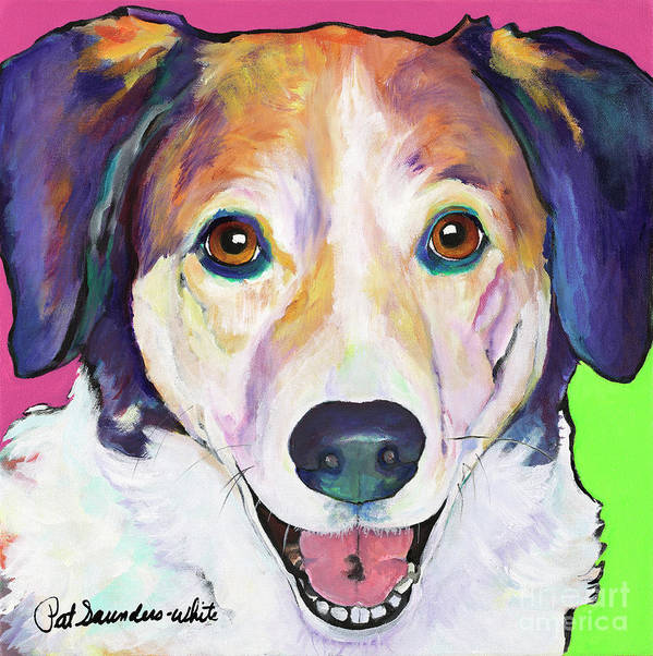 Smiling Dog Art Print featuring the painting Murphy by Pat Saunders-White