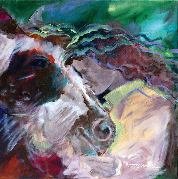Figurative Art Print featuring the painting My Horse Friend by Ron Patterson
