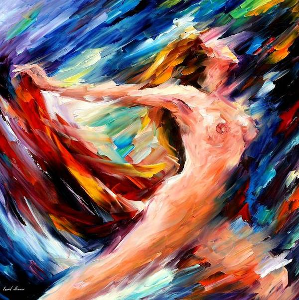 Nude Art Print featuring the painting Night Flight by Leonid Afremov