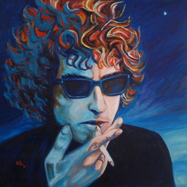Bob Dylan Art Print featuring the painting Not Dark Yet by Natasha Laurence