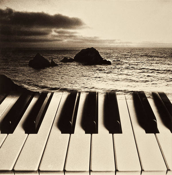 Ocean Art Print featuring the photograph Ocean Washing Over Keyboard by Garry Gay