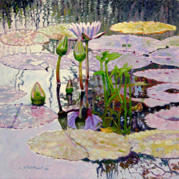 Water Lily Pond Art Print featuring the painting Pastel Light by John Lautermilch