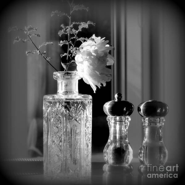 Still Life Art Print featuring the photograph Peony In A Crystal Vase On The Dining Table by Tanya Searcy