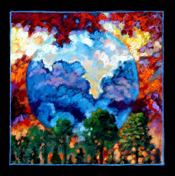 Earth Art Print featuring the painting Planets Image Two by John Lautermilch