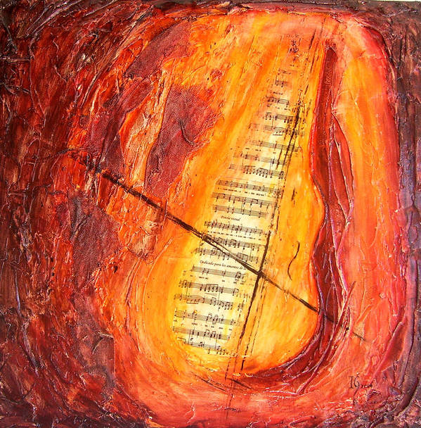 Music Art Print featuring the painting Poesial Visual by Ivan Guaderrama