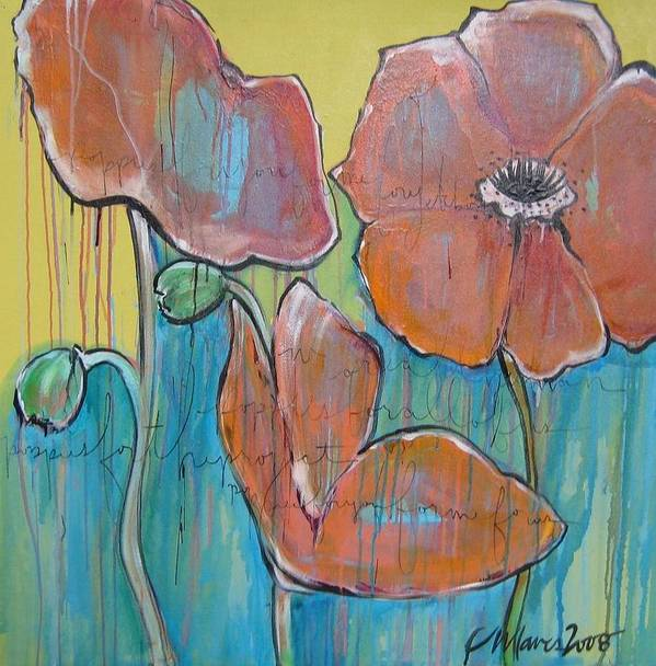 Pop Art Art Print featuring the painting Poppies 3 by Laurie Maves ART