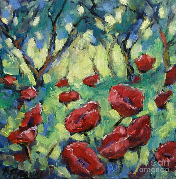 Art Art Print featuring the painting Poppies Through The Forest by Richard T Pranke