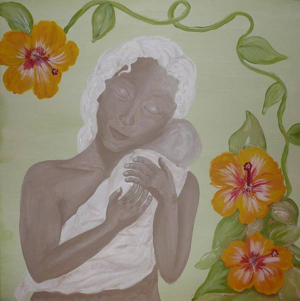 Mother Art Print featuring the painting Precious Time by Jennifer Hernandez
