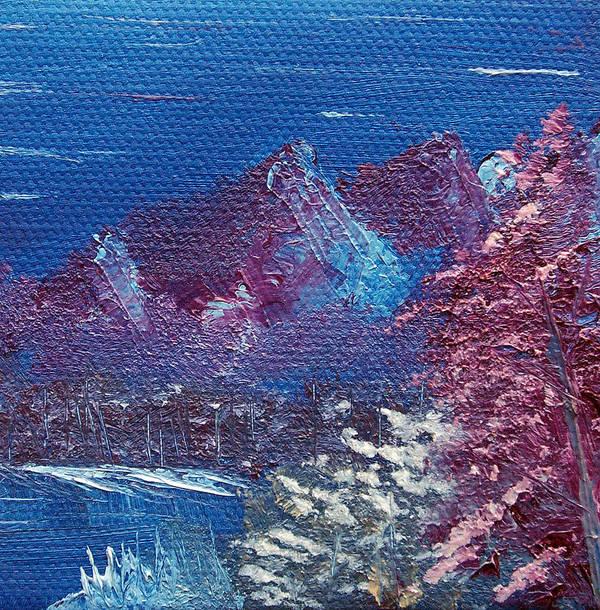 Landscape Art Print featuring the painting Purple Mountain Landscape by Jera Sky