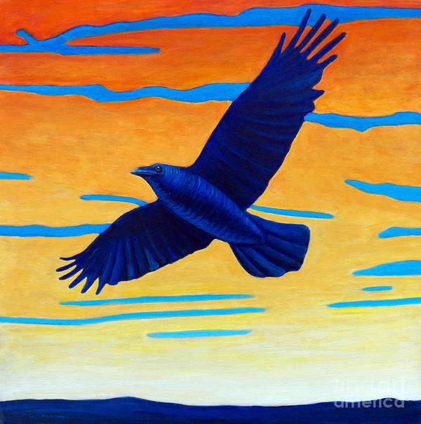 Raven Art Print featuring the painting Raven Rising by Brian Commerford