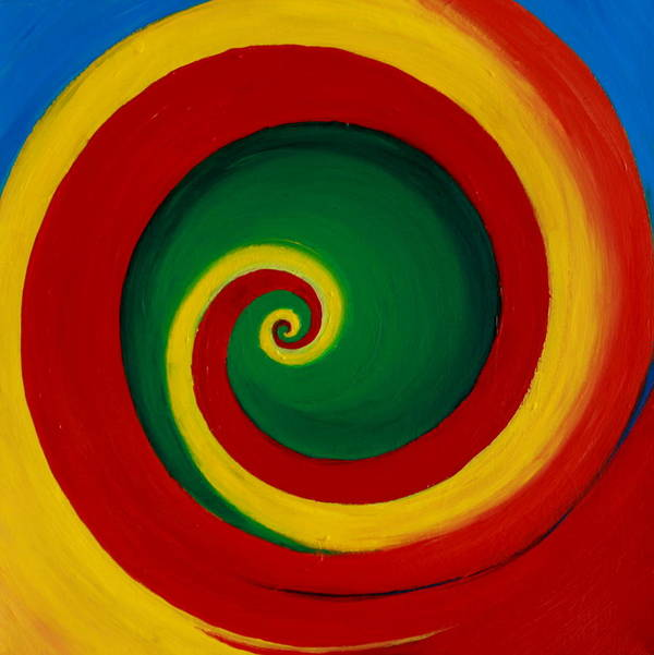 Swirl Art Print featuring the painting Red And Yellow Swirl by Krista Gagelman