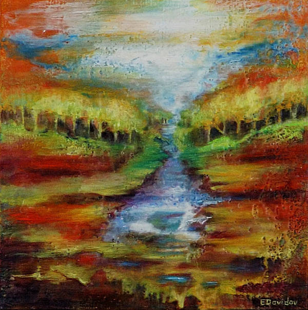 Water Art Print featuring the painting Red Country No 1. by Evgenia Davidov