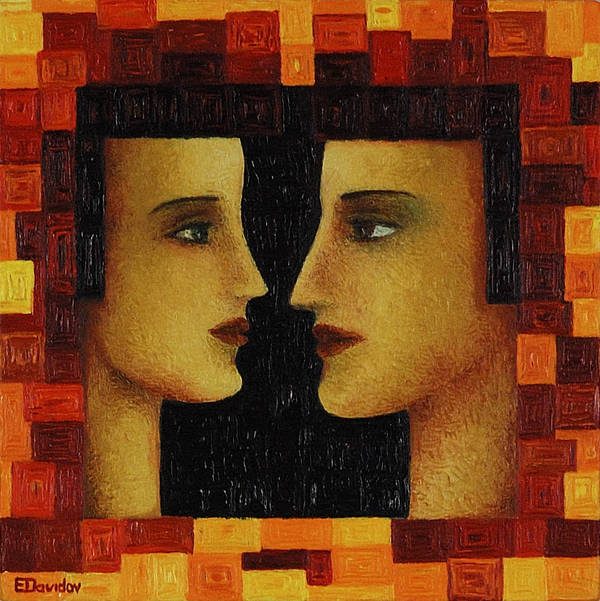 Image Art Print featuring the painting Red Duet. by Evgenia Davidov