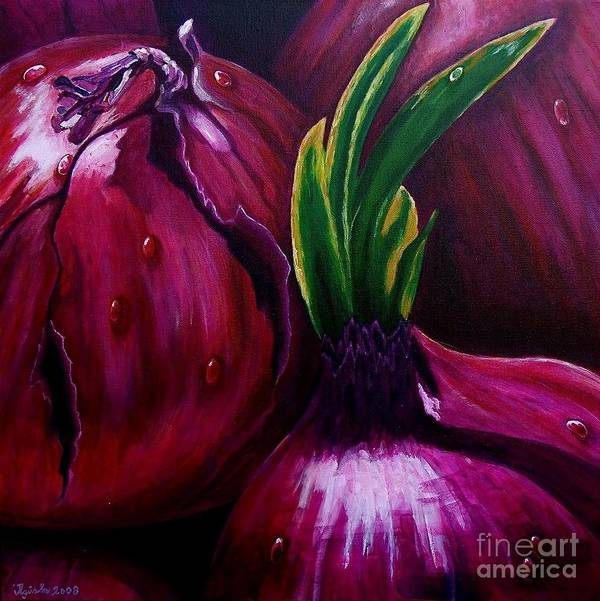 Red Art Print featuring the painting Red Onions by Agusta Gudrun Olafsdottir