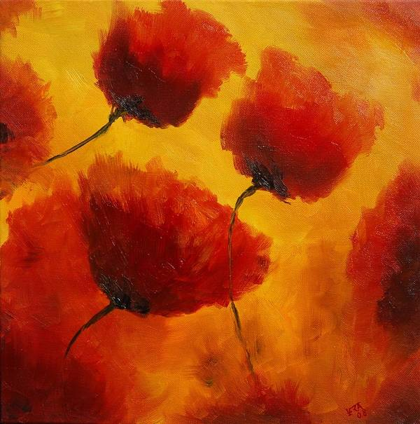 Flowers Art Print featuring the painting Red Poppies by Veronique Radelet