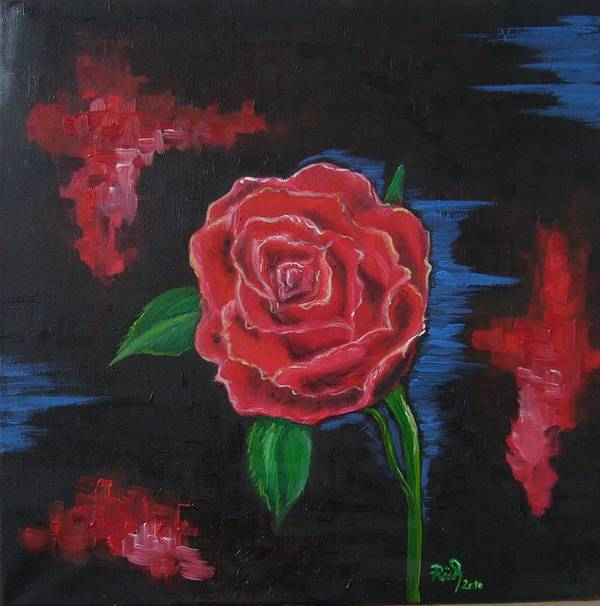 Rose Art Print featuring the painting Red Rose by Beata Rosslerova