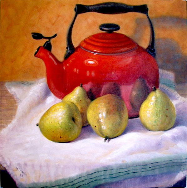 Realism Art Print featuring the painting Red Teapot And Pears by Donelli DiMaria
