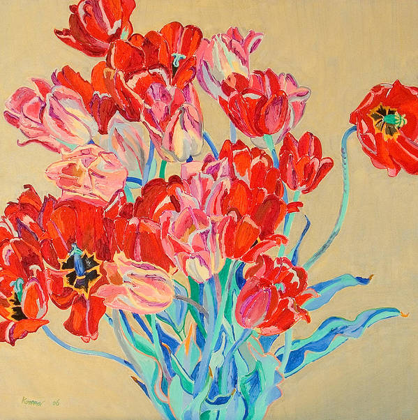 Flowers Art Print featuring the painting Red Tulips With Gold Background by Vitali Komarov