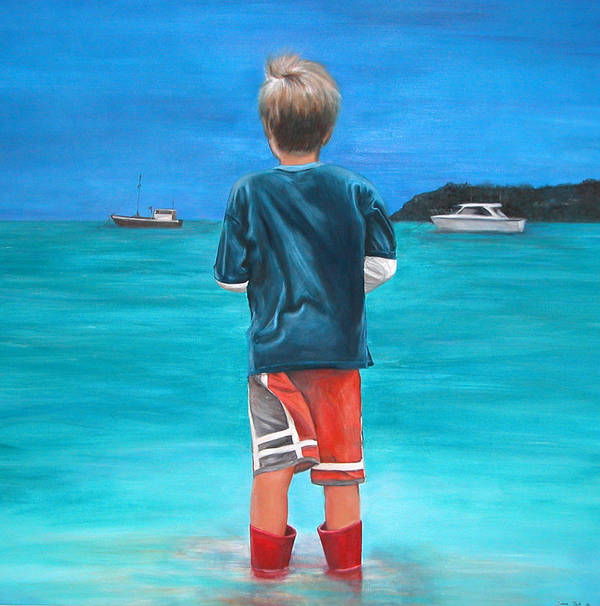 Beach Art Print featuring the painting Red Wellies by Fiona Jack