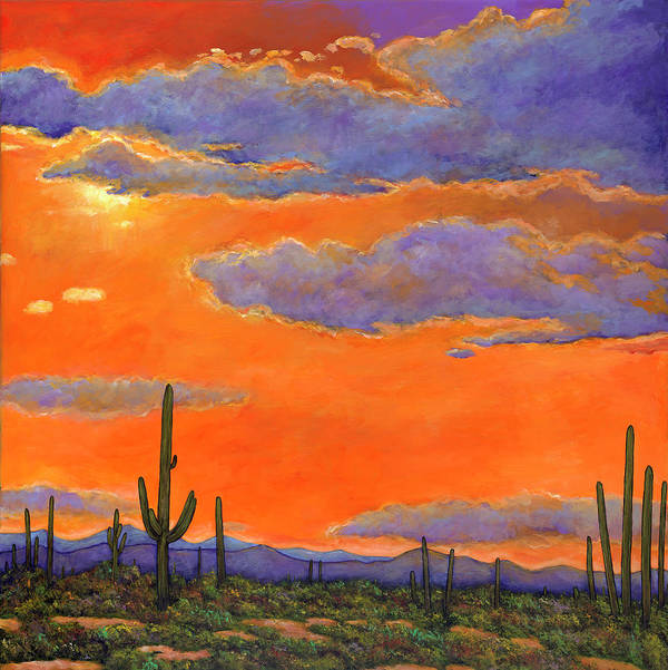 Southwestern Arizona Art Print featuring the painting Saguaro Sunset by Johnathan Harris