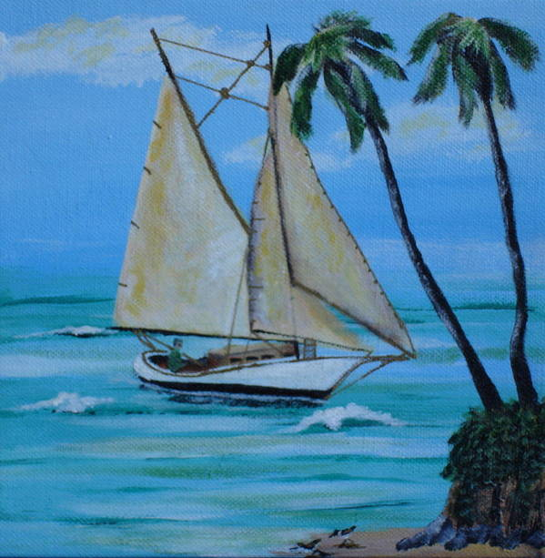 Sailboat Art Print featuring the painting Sailor's Dream by Susan Kubes