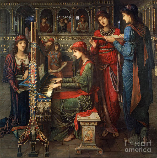 Organ; Singing; Choir; Saint; Cecile Art Print featuring the painting Saint Cecilia by John Melhuish Strudwick