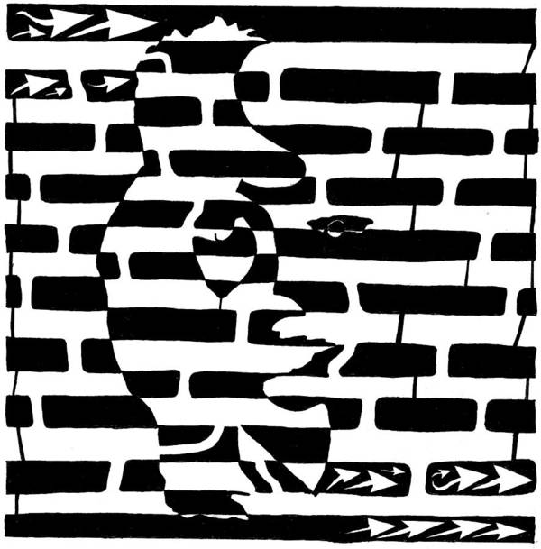 Saxophone Art Print featuring the drawing Saxophone Player Or Woman Maze by Yonatan Frimer Maze Artist
