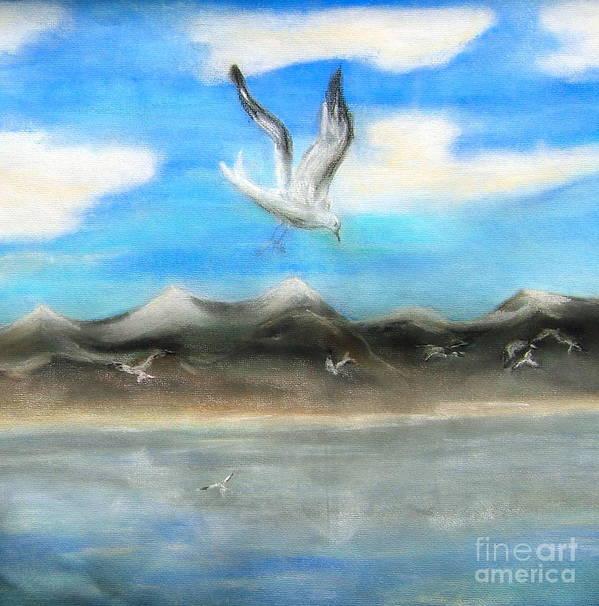 Birds Art Print featuring the painting Sea Gulls by Nancy Rucker