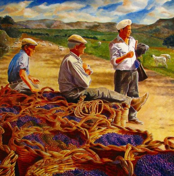 Italy Art Print featuring the painting Sharing The Harvest by Keith Gantos