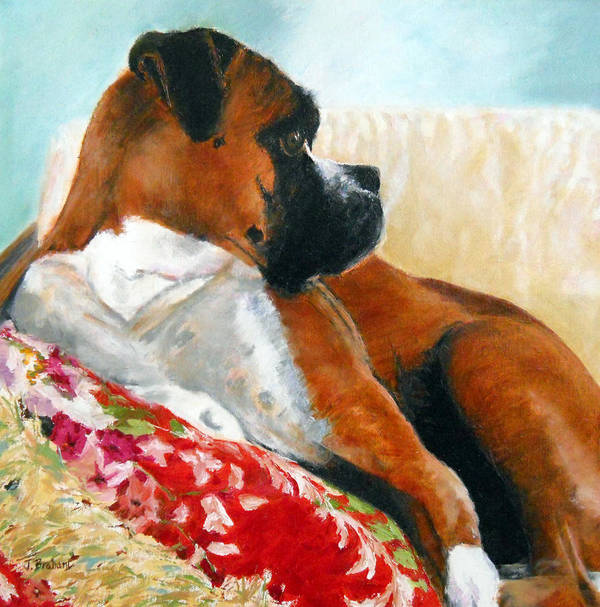 Pet Portrait Art Print featuring the painting Sitting Pretty by Jill Brabant