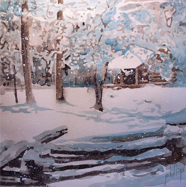 Cabin Art Print featuring the painting Snowbound by Jim Phillips