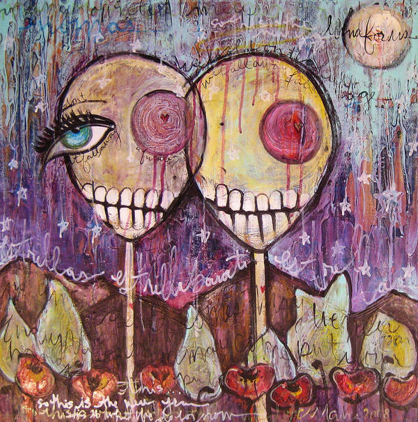 Skulls Art Print featuring the painting So This Is The New Year Estrellas And All by Laurie Maves ART
