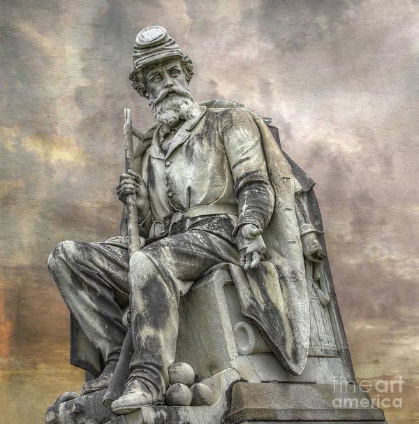 Gettysburg Battlefield Art Print featuring the digital art Soldiers National Monument War Statue Gettysburg Cemetery by Randy Steele