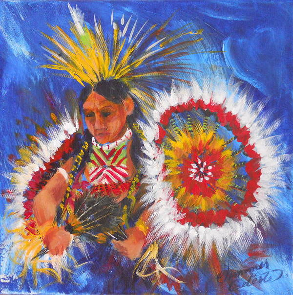 Indian Art Print featuring the painting Souix Dancer by Summer Celeste