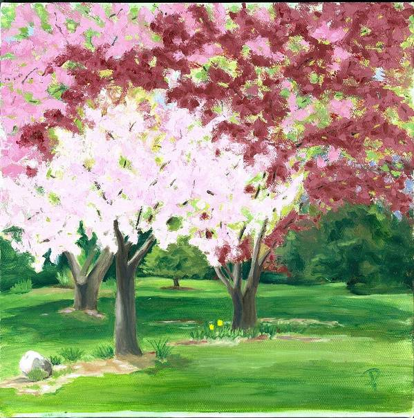 Spring Art Print featuring the painting Spring At Osage Land Trust by Paula Emery
