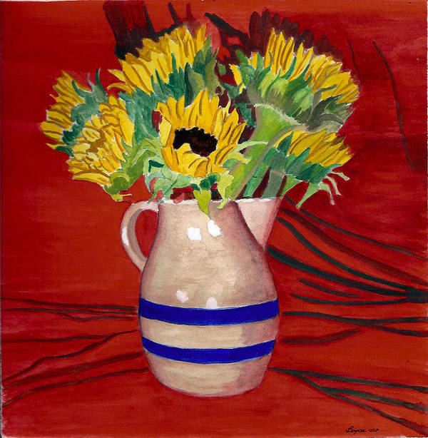 Still Life Art Print featuring the painting Sunflowers by Lois Boyce