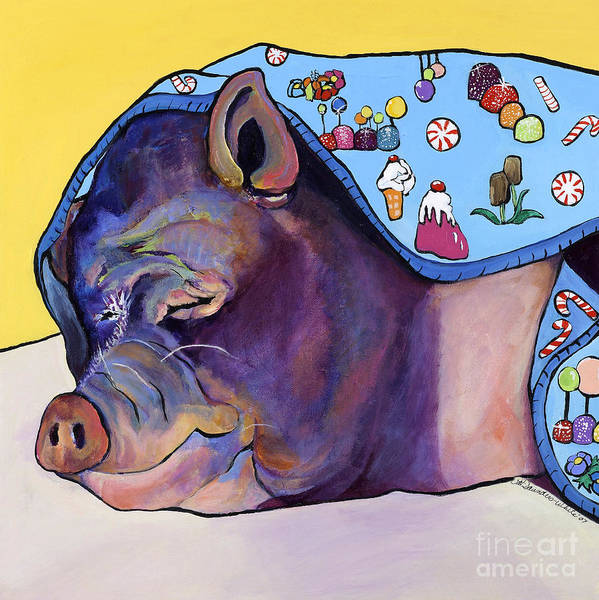 Farm Animal Art Print featuring the painting Sweet Dreams by Pat Saunders-White