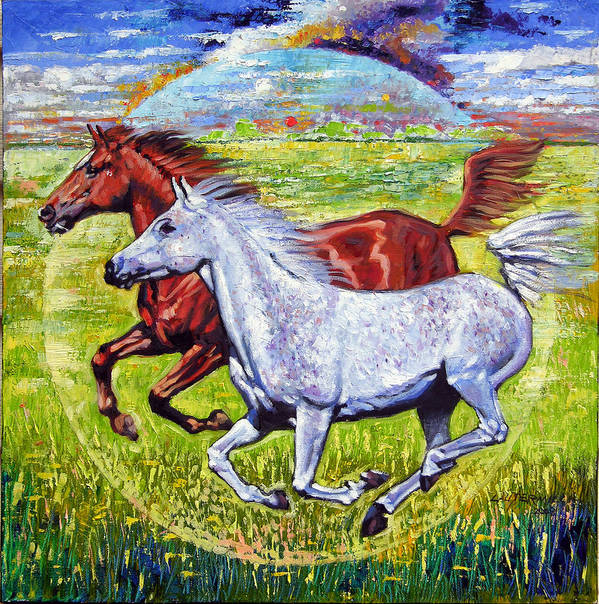 Horses Running Art Print featuring the painting Sweet Harmony by John Lautermilch