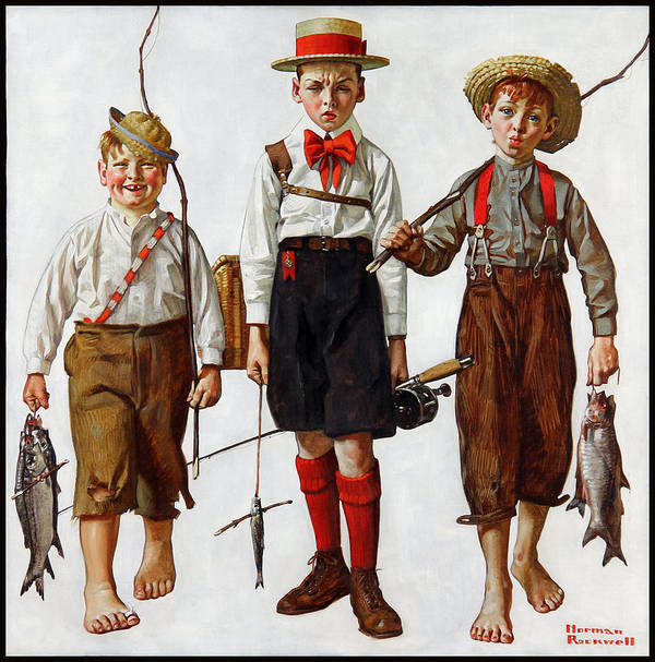 The Catch Art Print featuring the painting The Catch by Norman Rockwell