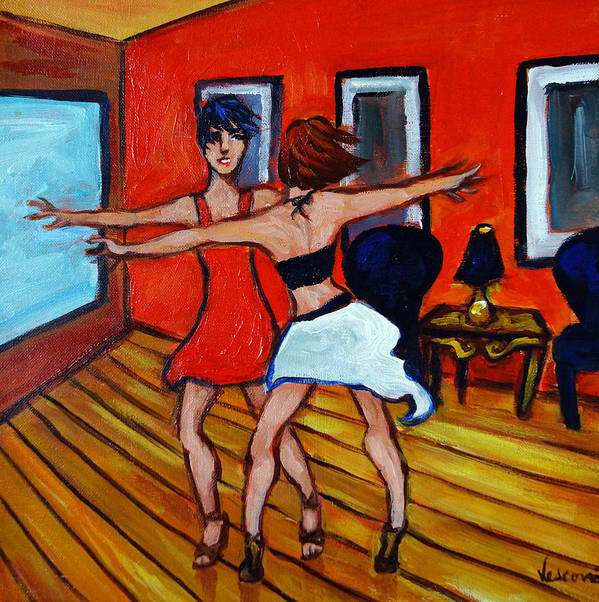 Dancers Art Print featuring the painting The Dancers by Valerie Vescovi